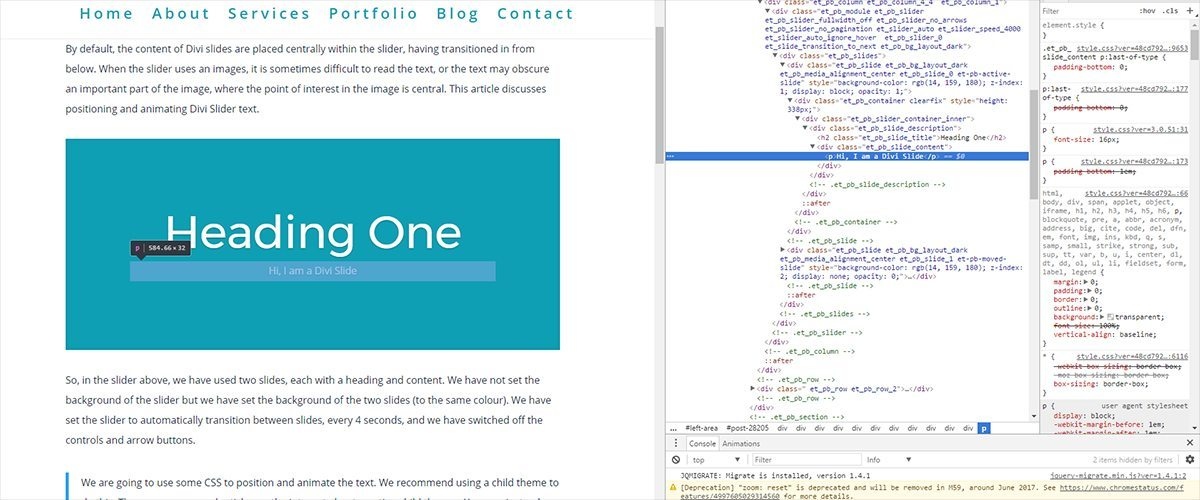 Positioning and Animating Divi Slider Text - Two Blue Toucans